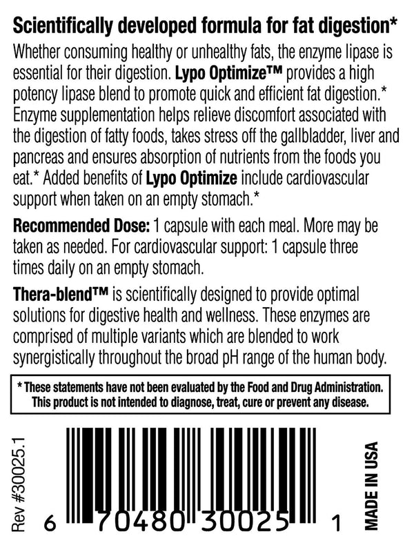 Enzyme Science - Lypo Optimize, 90 Count