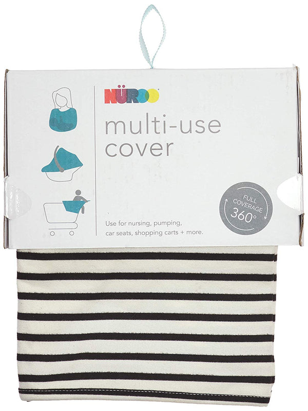 Nüroo Multi-Use Baby Car Seat, Nursing and Pumping Cover: Ivory + Black Stripe