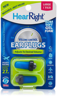 HearRight Volume Control Ear Plugs – Soft Foam Ear Plugs for Hearing Protection – (2-Pack) – Large