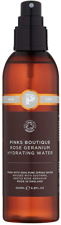 Pinks Boutique Rose and Geranium Organic Flower Water 1.7 oz. (50 mL) – Essential Oil Facial Toner – Rose Water Spray