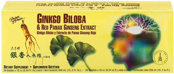 Prince of Peace Ginkgo Biloba & Red Panax Ginseng Extract, 0.34 fl. oz. Each