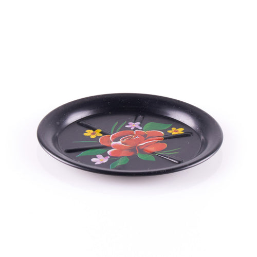 Black Ingredient Plate with Flower Design