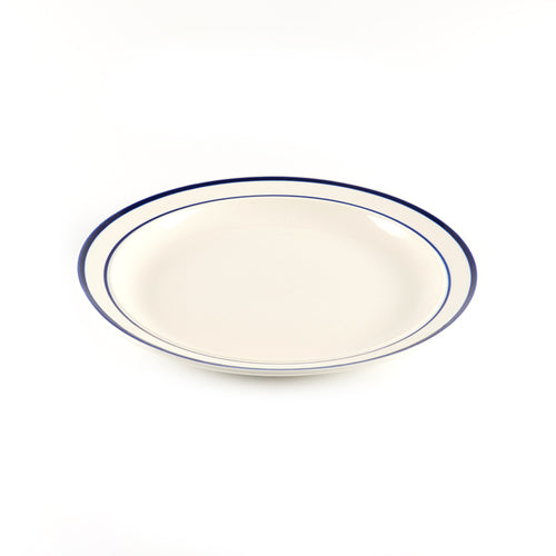 Beige Plate with Blue Striped Rim