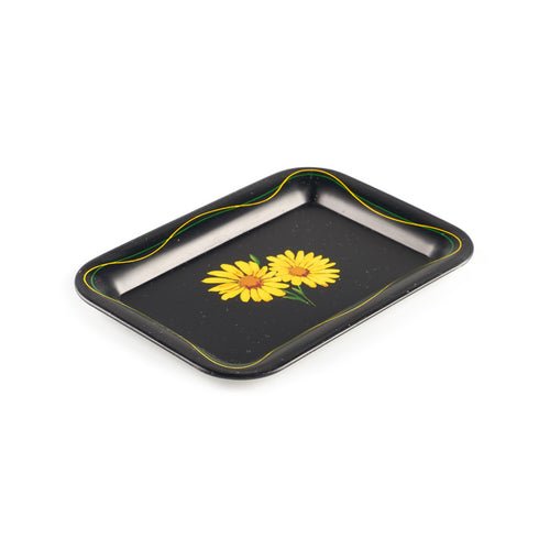 Black Ingredient Tray with Flower Design