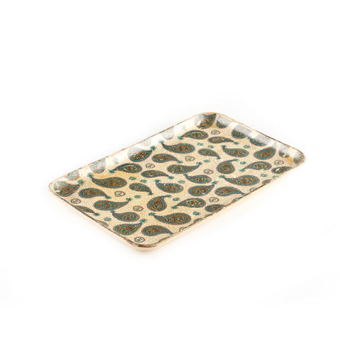 Beige Ingredient Tray with Green Paisley Pattern