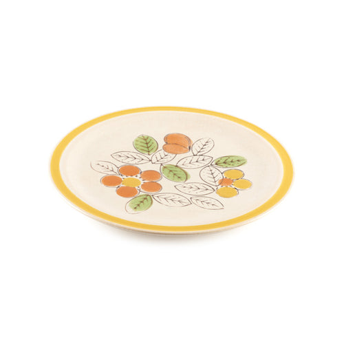Beige Plate with Flower Design