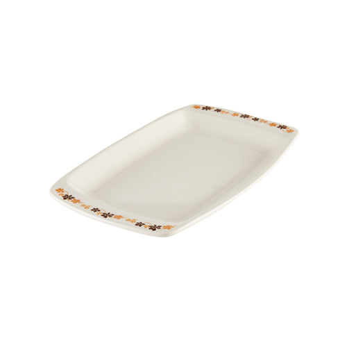 Rectangular White Platter with Flower Design