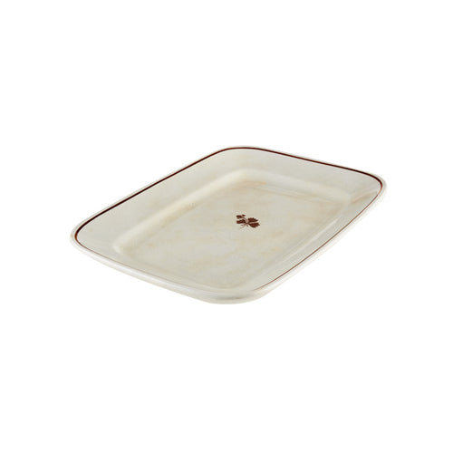 Rectangular Crackle Glaze Platter with Red Striped Rim