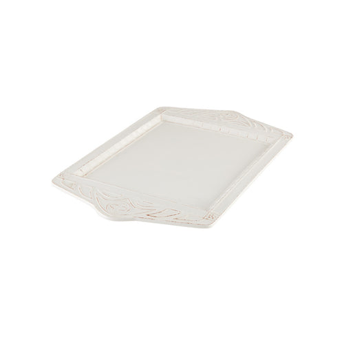 Rectangular White Platter with Decorative Handles