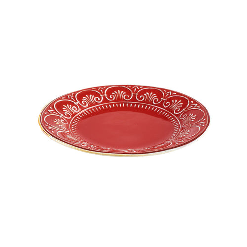 Red Platter with White Rim Design