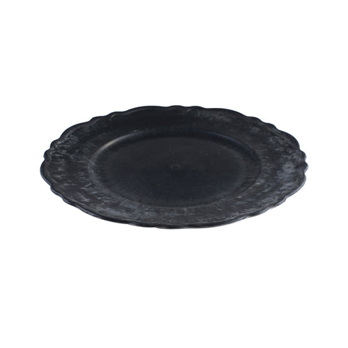 Metal Effect Platter with Scalloped Rim