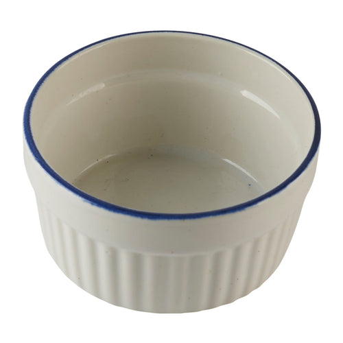 White Ramekin with Blue Rim