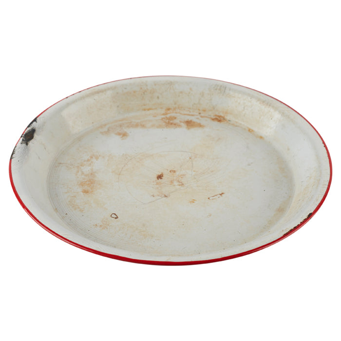 White Pie Dish with Red Rim