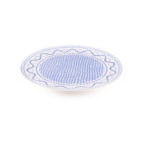 Rimless Platter with Blue Ribbon Design