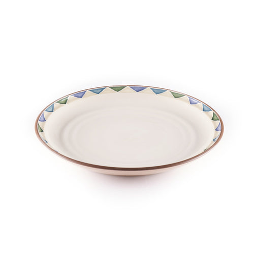 Beige Plate with Triangular Pattern Rim