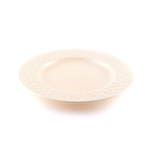 Beige Plate with Weave Pattern Rim