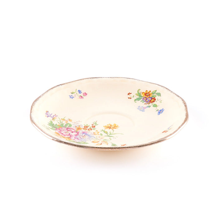 Beige Floral Saucer with Scalloped Rim