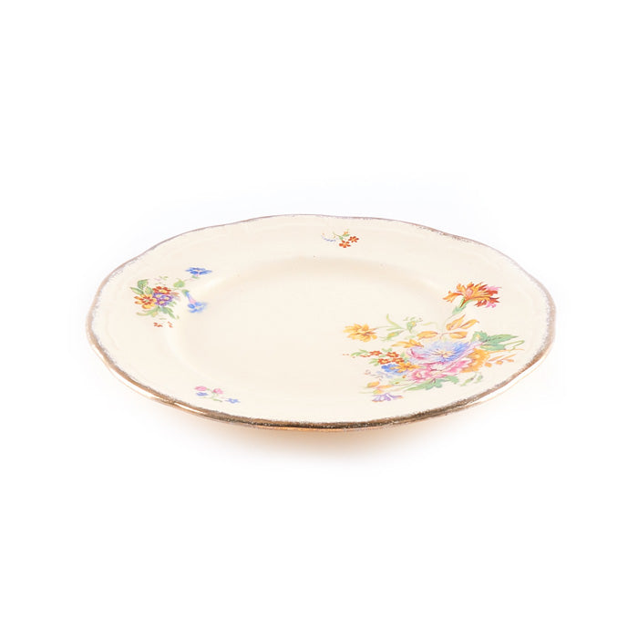Beige Floral Plate with Scalloped Rim