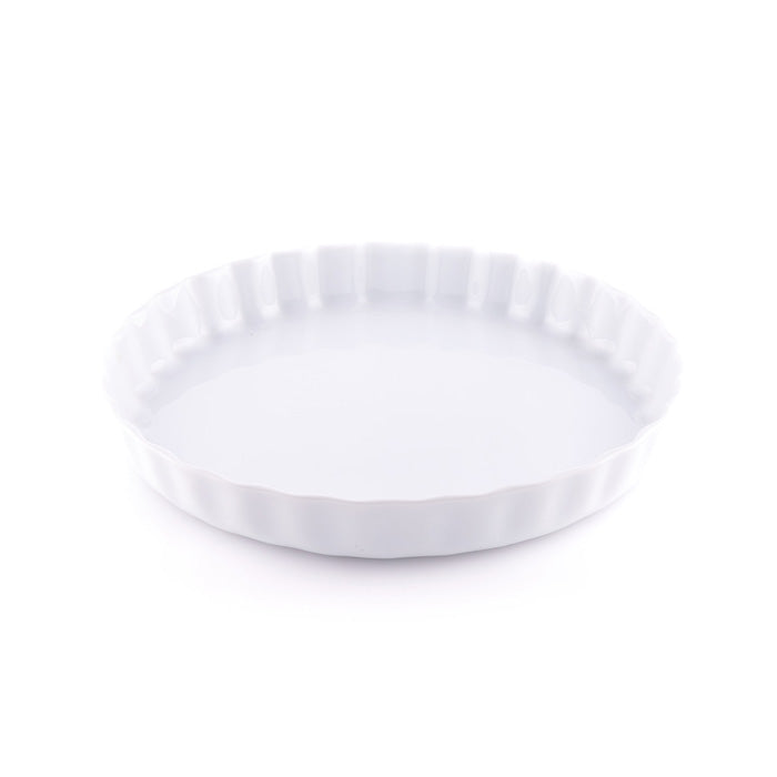 White Pie Dish with Crimped Edge