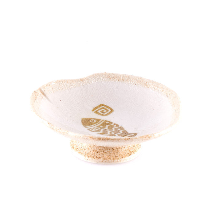 Beige Pedestal Bowl with Fish Design