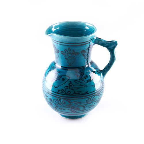 Blue Ceramic Pitcher with Fish Design