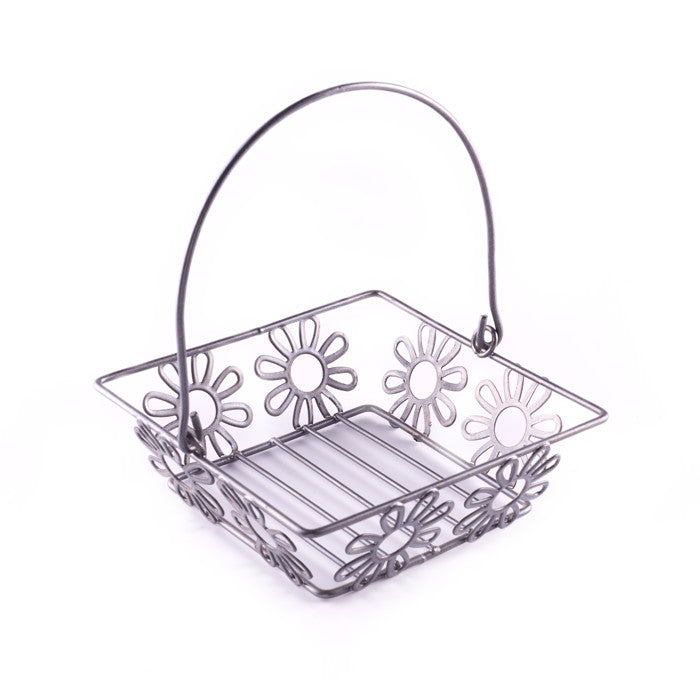Metal Basket with Flower Design