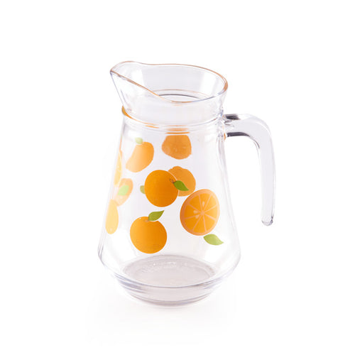 Glass Pitcher With Oranges Design