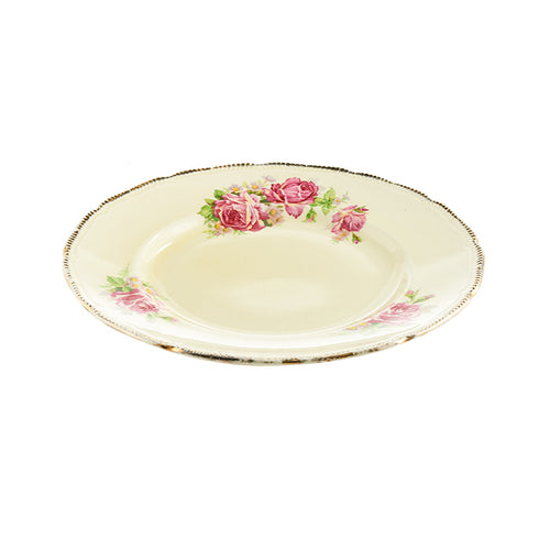 Beige Plate with Pink Rose Design