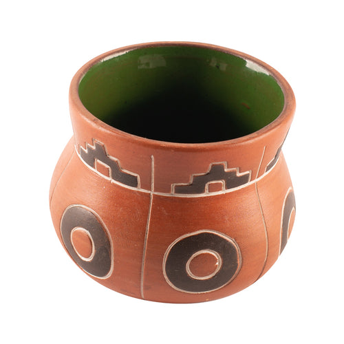 Brown Terracotta Pot with Black and White Pattern