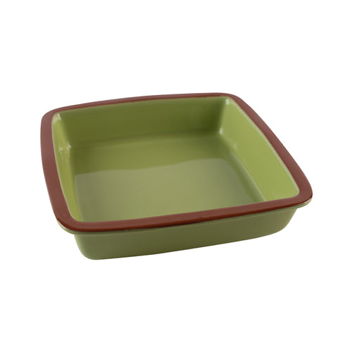 Green Casserole Dish with Brown Rim