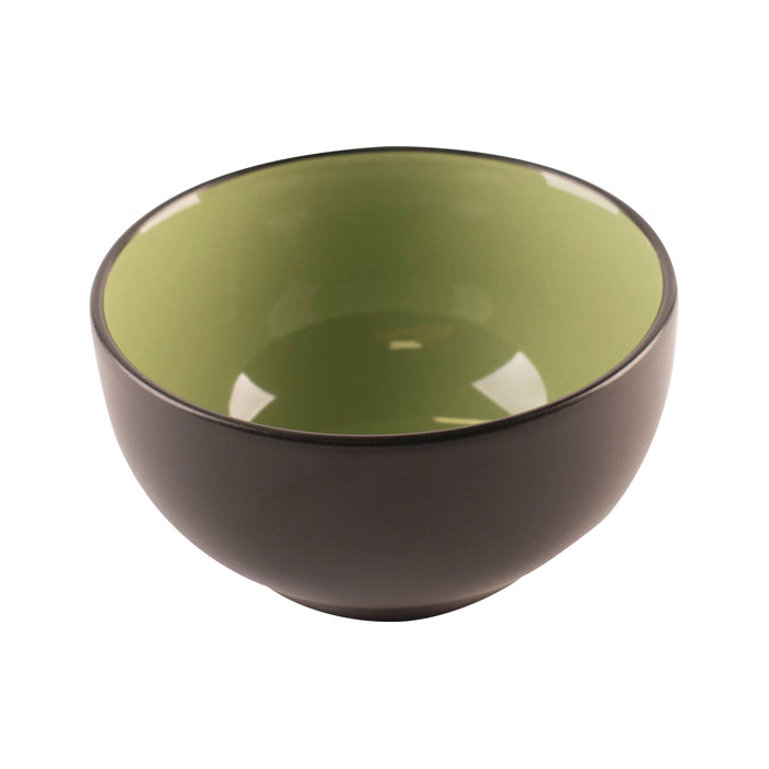 Black Bowl with Green Interior