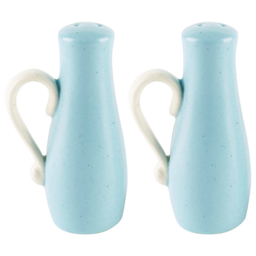 White and Blue Salt and Pepper Pots