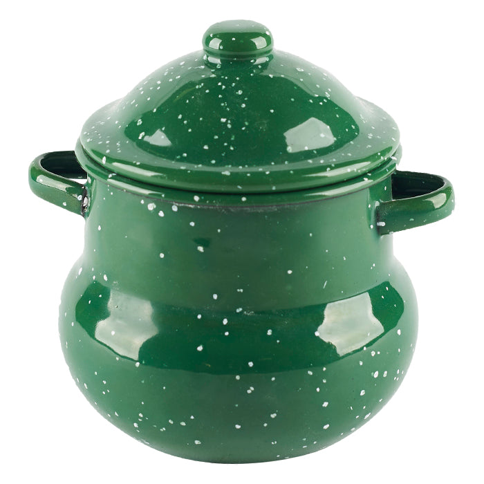 Green Speckled Enamel Pot