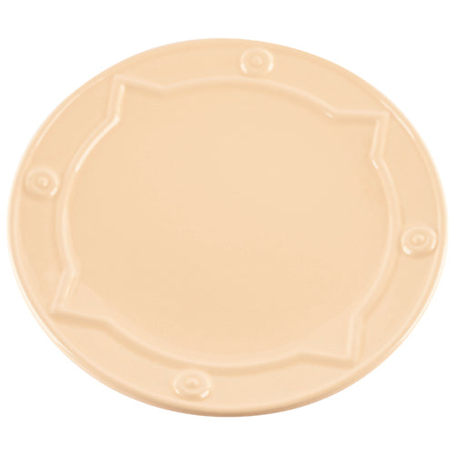 Beige Plate with Geometric Pattern Rim