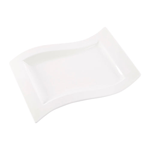 Rectangular White Platter with Curved Sides