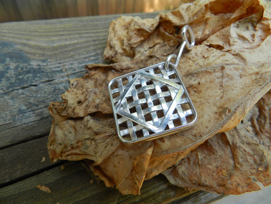Farm Life Collection: Sterling Silver Large Tobacco Basket Pendant
