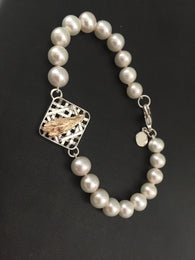 Farm Life Collection - Bright Leaf Bundle in Sterling Basket Pearl Bracelet
