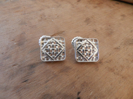 From Tobacco Road: Sterling Silver Tobacco Basket Post Earrings