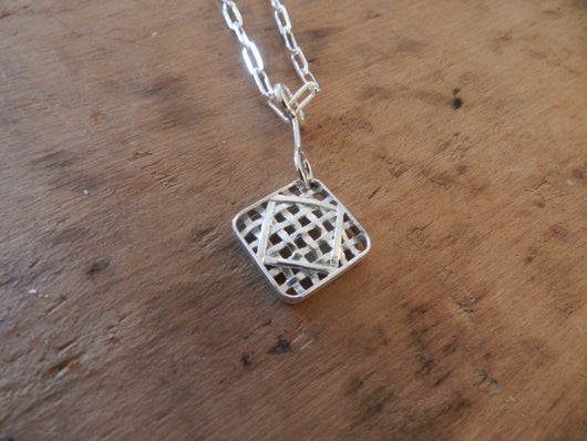 From Tobacco Road: Sterling Silver Tobacco Basket Small Pendant