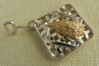 Farm Life Collection: Sterling Silver Tobacco Basket with Solid 14K Gold Hand of Tobacco