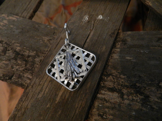 Farm Life Collection: Sterling Silver Tobacco Leaves & Market Basket Pendant
