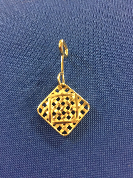 From the Tobacco Road Collection: Small Tobacco Basket Pendant in 14K Gold