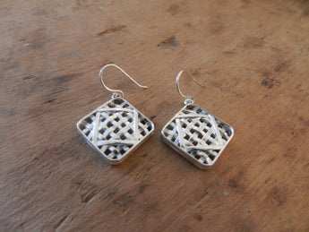 Farm Life Collection: Sterling Silver Tobacco Basket Dangle Earrings