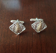 Farm Life Collection - Sterling Cuff Links with 14K Gold Leaves