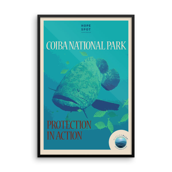 Eastern Pacific Seascape / Coiba Hope Spot Poster – Framed