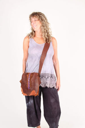 Journey bags Handbag Buffalo Bag with purple croc