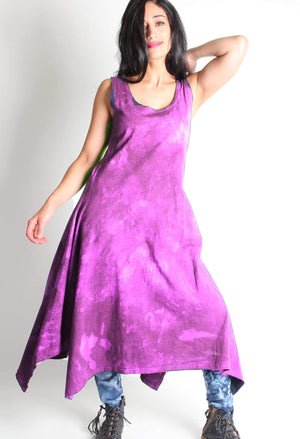 Hand dyed 100% cotton Long dress with Asymmetric hem dyed in Pink