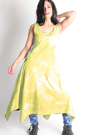 Hand dyed 100% cotton Long dress with Asymmetric hem dyed in Kiwi