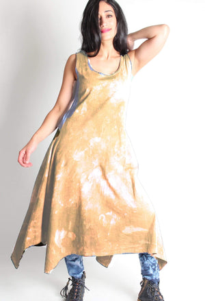 Hand dyed 100% cotton Long dress with Asymmetric hem dyed in Yellow