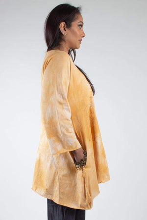 Steel Pony Genevieve Cotton A-Line Tunic with Floral Embroidery and pockets Sunshine Side View